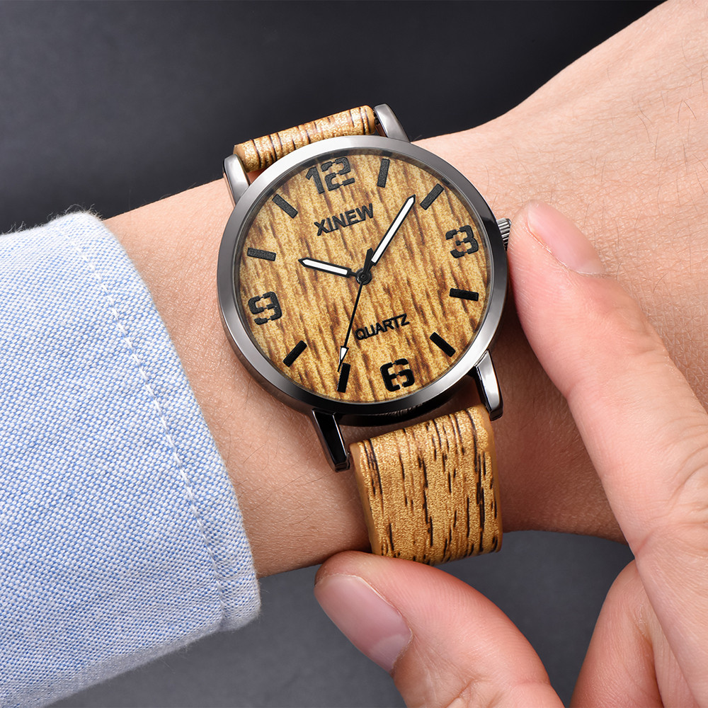 Watches Meskie Wood Imitation Retro XINEW Zegarki Quartz For Men Xinew/Wood/Texture/..
