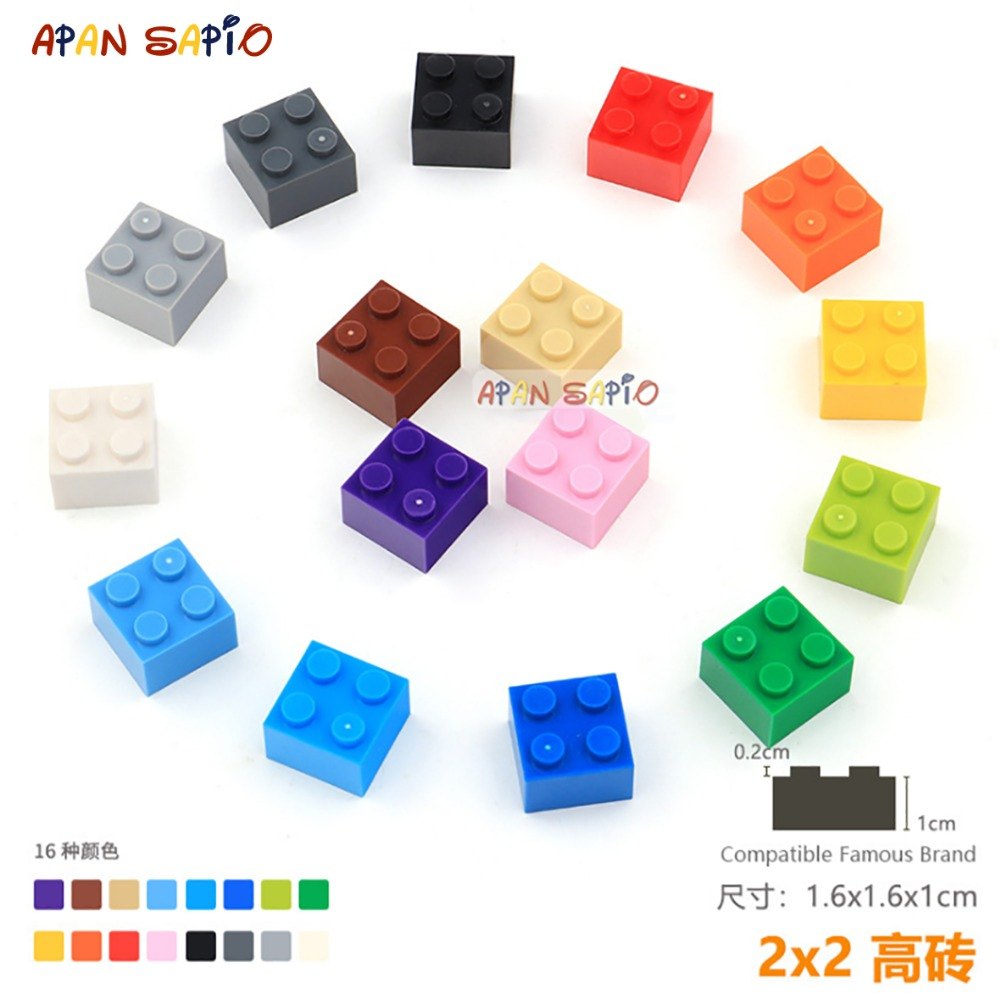 15pcs/lot DIY Blocks Building Bricks Thick 2X2 Educational Assemblage Construction Toys For Children Compatible With Lego