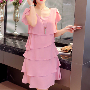 2018 New Women Summer Dress Elegant Ladies Party Cocktail Ruffles Dress Plus Size S-6XL Loose Chiffon Solid Pink Black Dress