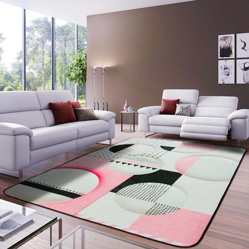 Style européen tapis de zone rectangulaire multicolore luxe motif géométrique tapis antidérapant lavable Durable tapis de zone pour salon - 2