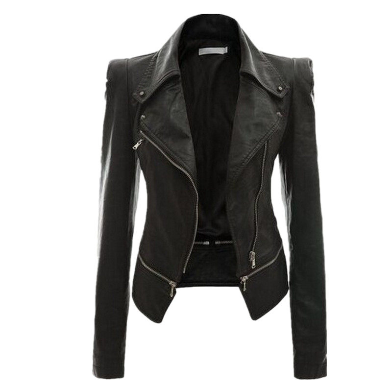 Brand Motorcycle PU Leather Jacket Women Winter and Autumn New  Coat 4 Color Zipper Outerwear Jacket New 2018 Coat HOT Py01