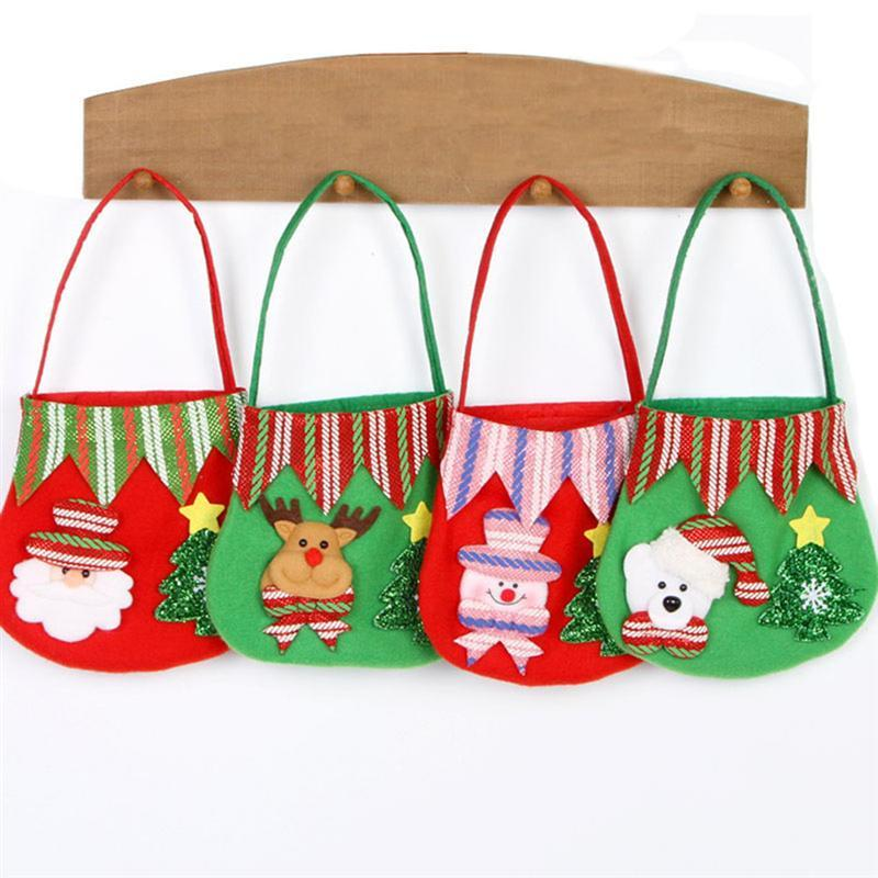 Christmas Santa Gift Bags Fabric Treat Candy Pouch Xmas Party Favour Ornaments