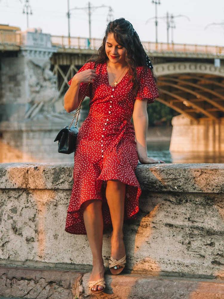 Sheinside винтажное платье в горошек с рюшами на подоле женское 2019 летнее платье с коротким рукавом ТРАПЕЦИЕВИДНОЕ ПЛАТЬЕ женское платье на пуговицах с поясом