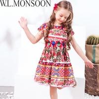 W L MONSOON Princess Girls Dress With Sashes 2018 Brand Children Summer Dress Flower Vestidos Kids