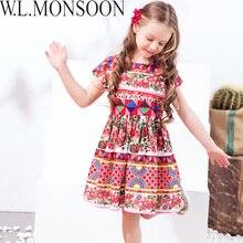 فستان الأميرات للبنات من W. L. Monshort مزود بوشاح 2018 فستان صيفي للأطفال ذو علامة تجارية فساتين أطفال مصنوعة من الزهور للبنات
