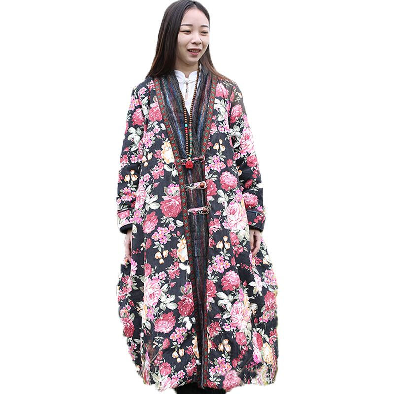 2016 NEW Winter Jacket Women Floral Coat Vintage Cotton Padded Coats Ethnic Wooden Buttons Robe Loose Corduroy Overcoat