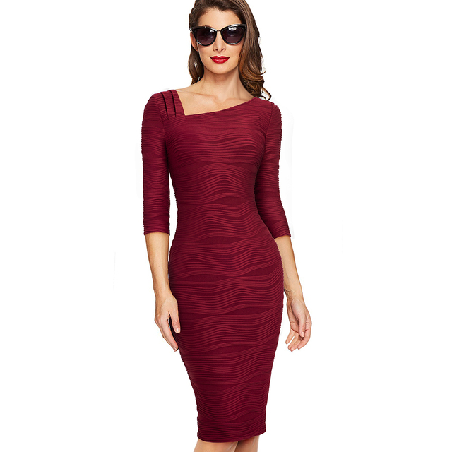 f707c585da753 US $14.84 45% OFF|Autumn Women Solid Color Casual Business Office Dress  Elegant Three Quarter Sleeve Bodycon Work Dress EB461-in Dresses from  Women's ...