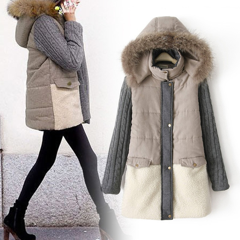 ФОТО 2016 New Parkas Mujer European Women's Long Thick Cotton Station Code Splicing Warm Hooded Ladies Real Collar Coat Jacket 0705
