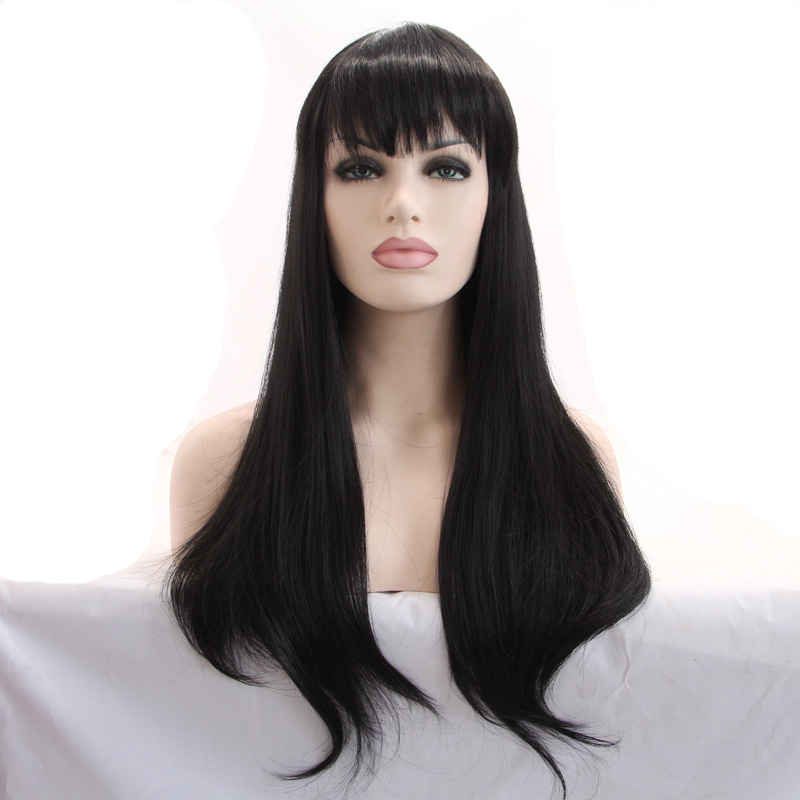 ФОТО natural look high quality black natural straight wigs with bangs synthetic lace front wig heat resistant fiber long hair wigs