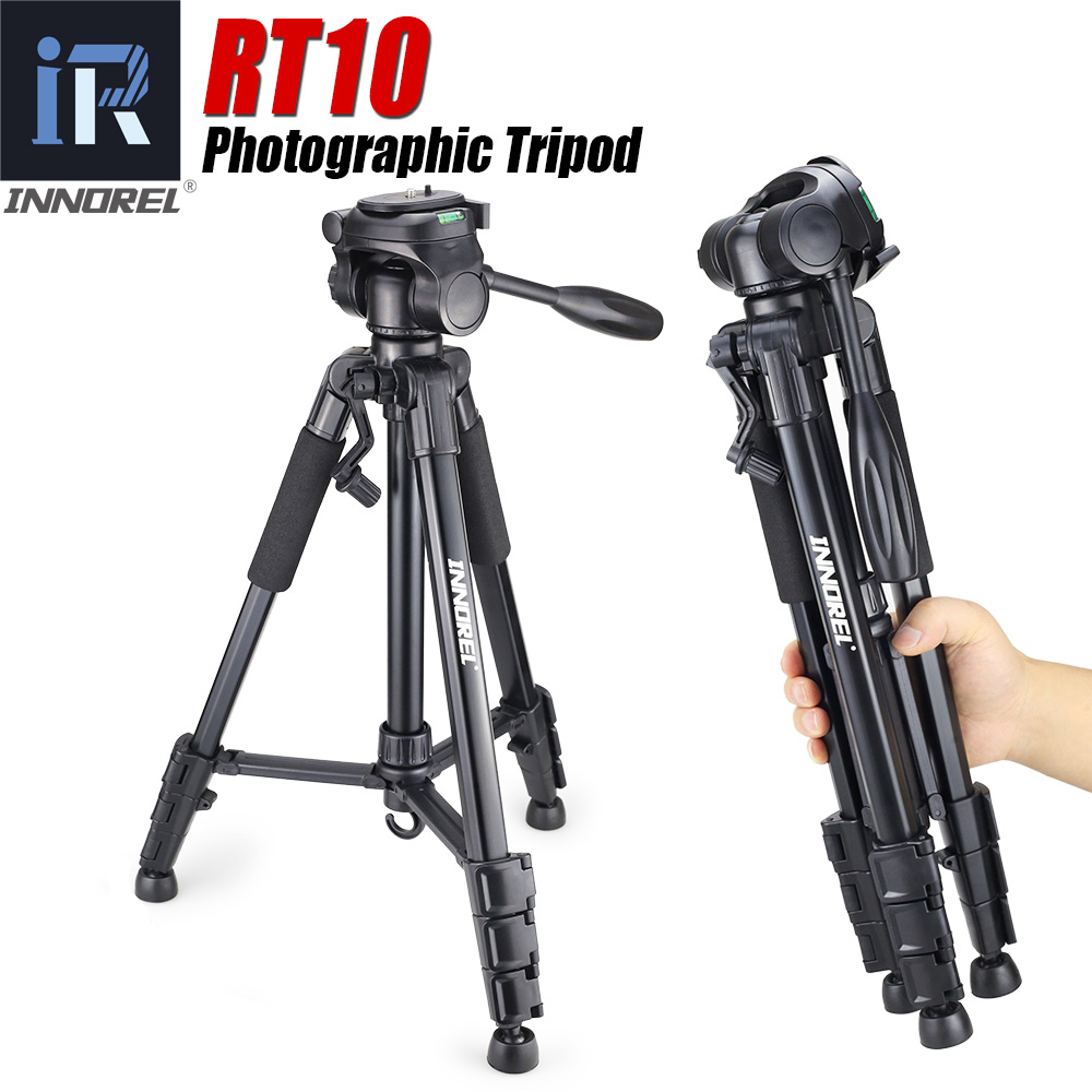 RT10 Portable Camera Stand Tripod Head and QR Plate Integrated Multi-function SLR Camera Tripod for Photography Beginners image