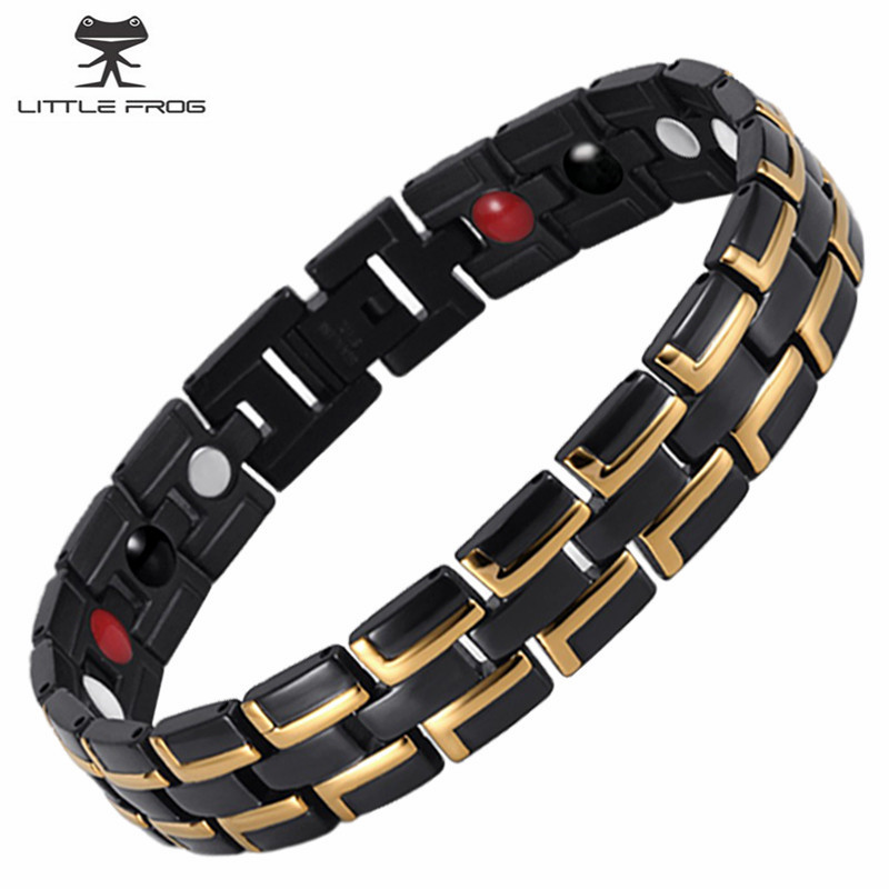 KLEINER FROSCH Modeschmuck Heilendes FIR Magnetische Edelstahl Bio-energie-armband Für Männer Blutdruck Zubehör Armbänder