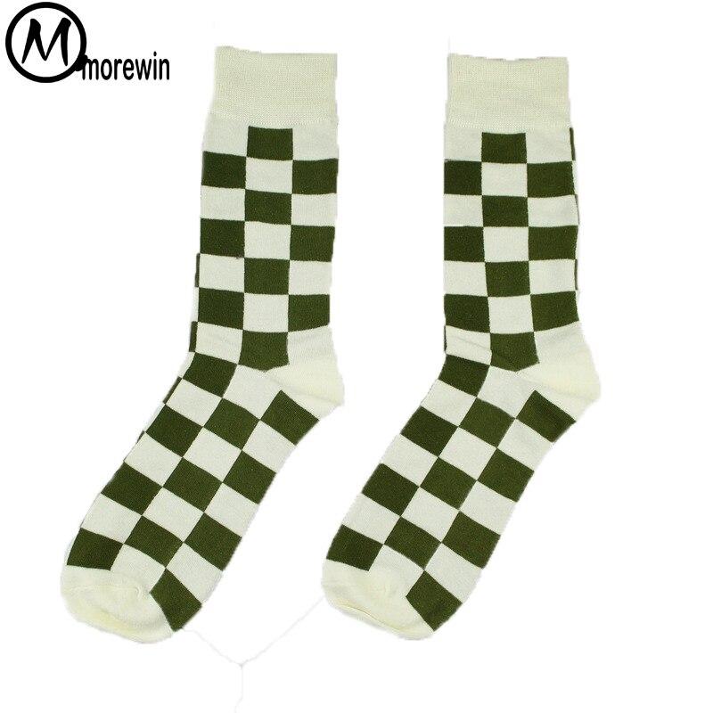 Spring Fashion 1Pair Men Big Size Cotton Crew Socks Checks Patterned Funny Socks Male Casual Street Style Socks Morewin