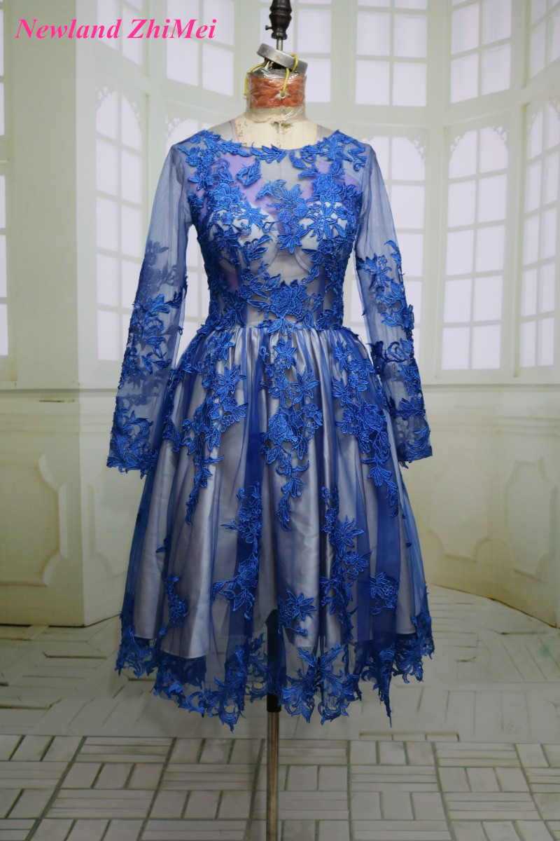 Hot Blue Knee Length   Cocktail     Dress   with Long Sleeve Sexy O Neck Applique Tulle A Line Party Gown   Dresses   2017