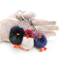 цена на New Brand Keychain Duck Cute Fluffy Key chain  Genuine Mink Fur Pompom Key Ring Pom Pom Toy Doll Bag Charm Car Key Holder