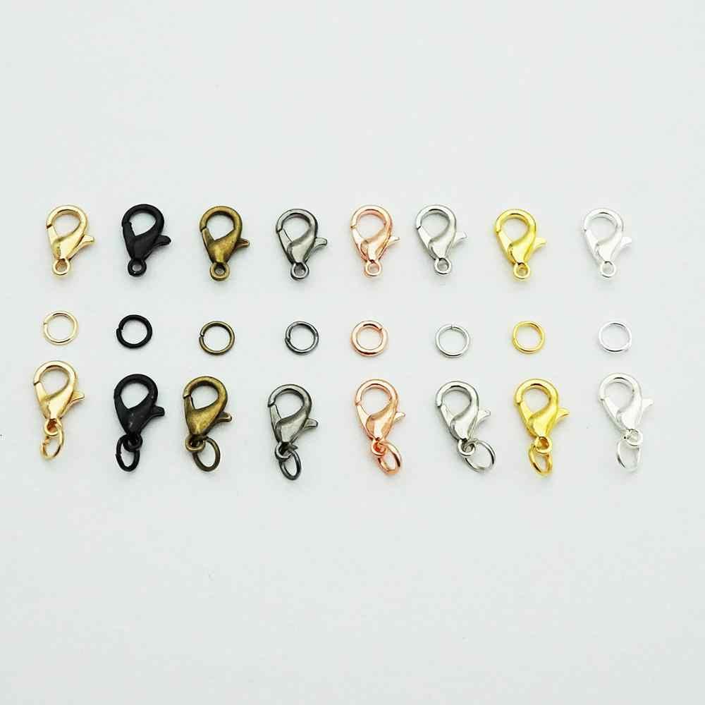 100 Uds./lote gancho de cierre de langosta y 300 Uds anillos de salto de círculo abierto un solo lazo para DIY collar pulsera fabricación de joyas