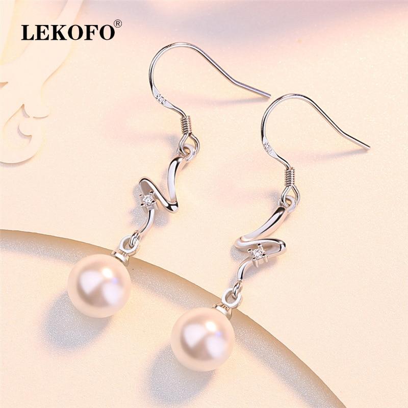 925 Silver 5 Pentagram Pearl Tassel Long Ear Line Earrings Fashion Women Jewelry