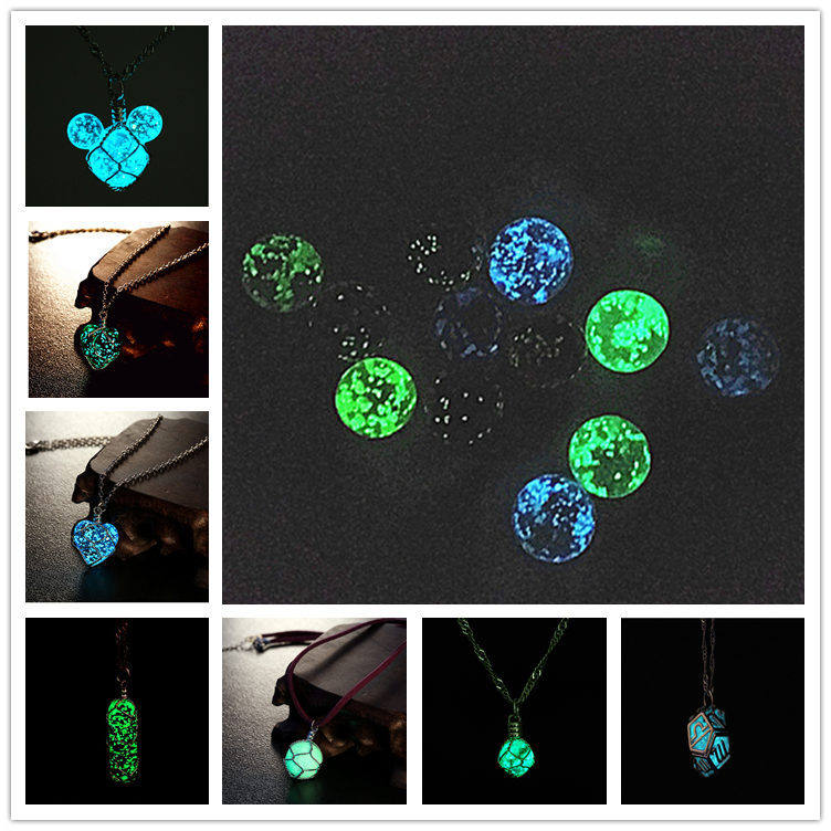 2015 summer glow in dark pendant necklace Heart of Ocean ball Twelve constellations Luminous stone necklace light up jewelry