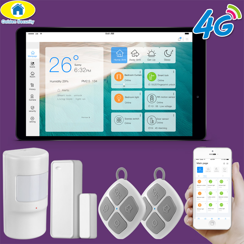 Golden Security 10 Touch Pad LORA WiFi 3G 4G Alarm System Smart Home IOT System Home Automation Alarm System Security for 2019 newest 3g home security alarm system