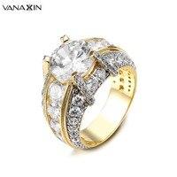 VANAXIN Fashion Clear Zirconia Ring Womens Ringen Sieraden Engagement Grote Ringen Voor Vrouwen Twee Tone Goud/Zilver kleur
