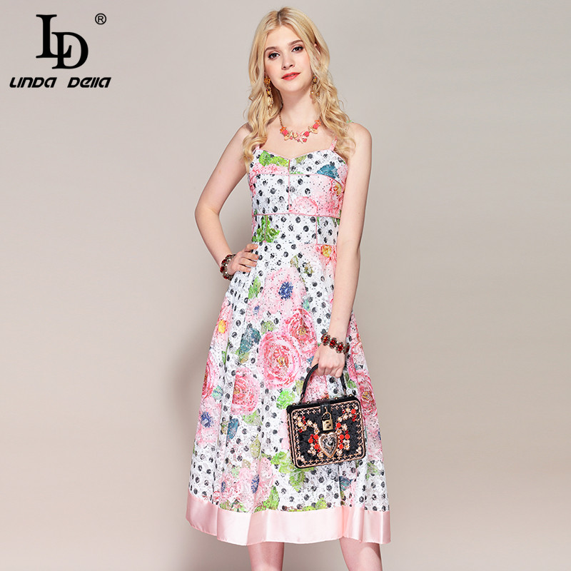 LD LINDA DELLA Fashion Runway Summer Dress Women s Spaghetti Strap Floral Print Hollow out Lace