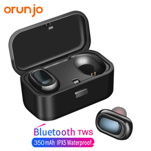 Orunjo L1 Bluetooth Headset TWS Wireless Earphones 3D Stereo Sound Waterproof Earbuds Built-in Mic with Charging Box