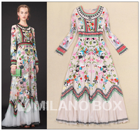 HIGH QUALITY Runway Luxury Mesh Embroidered Long Dress 2014 Autumn Winter Ladies Long Sleeve Vintage Ethnic