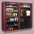 House Scenery Double Arrangement Capacity Simple Shoe Boots Cabinet Combination Shoe Rack With Dustproof Cover Nine Layers Shelf