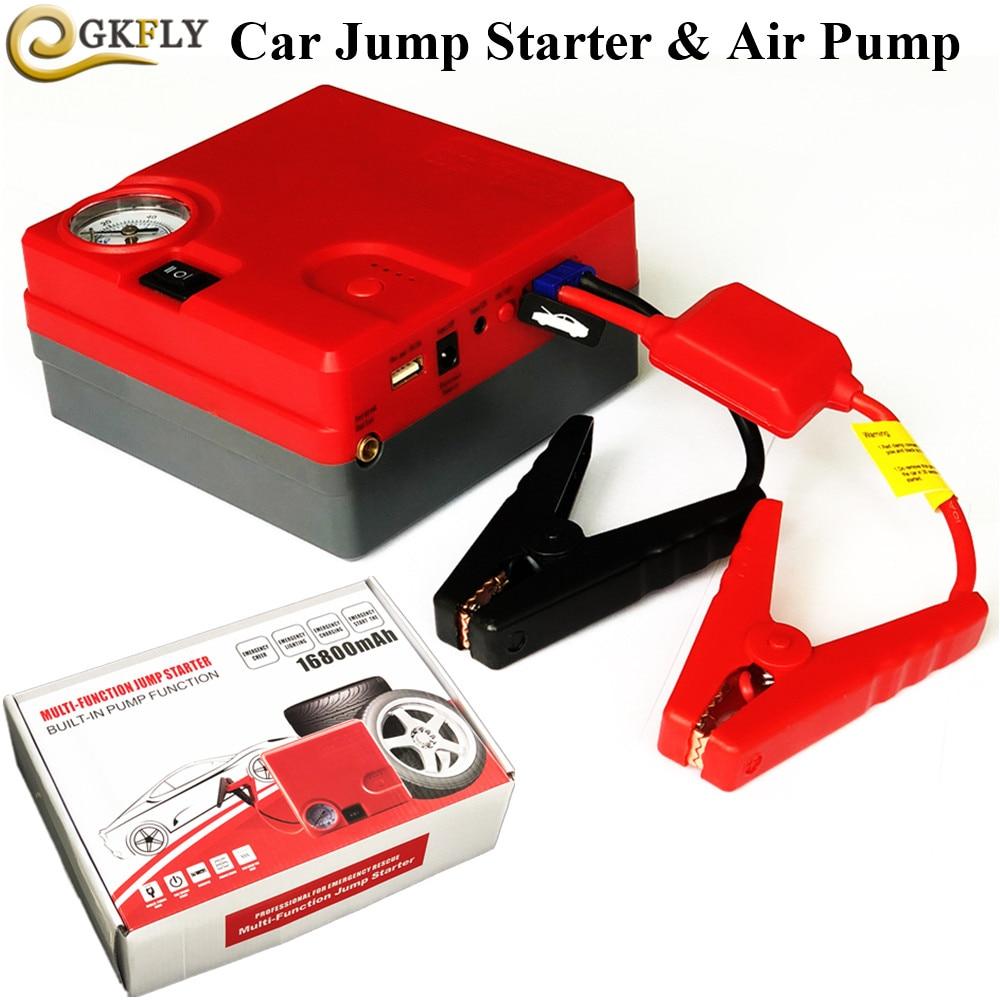 Emergency Starting Device 12V 16800mAh Car Jump Starter Air Pump Mobile Phone Power Bank Car Charger For Car Battery Booster LED kiwibird kp16800 16800mah mobile power battery charger w led for iphone samsung more white