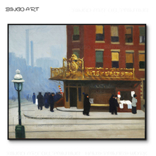 Hand-painted Impressionist Landscape New York Street Oil Painting on Canvas Reproduce Edward Hopper