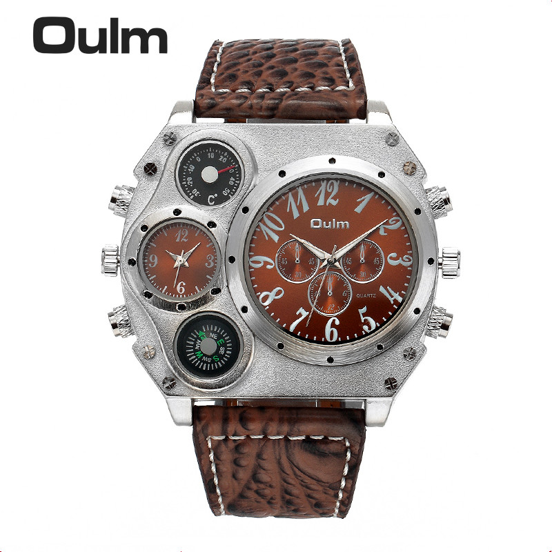 Oulm 1349 Men's Dual Movement Sports military Watch with Compass & Thermometer decoration black dial big size 5.8cm diameter thermometer watch compass watch two time zone display dual movt quartz watch for men oulm 1349