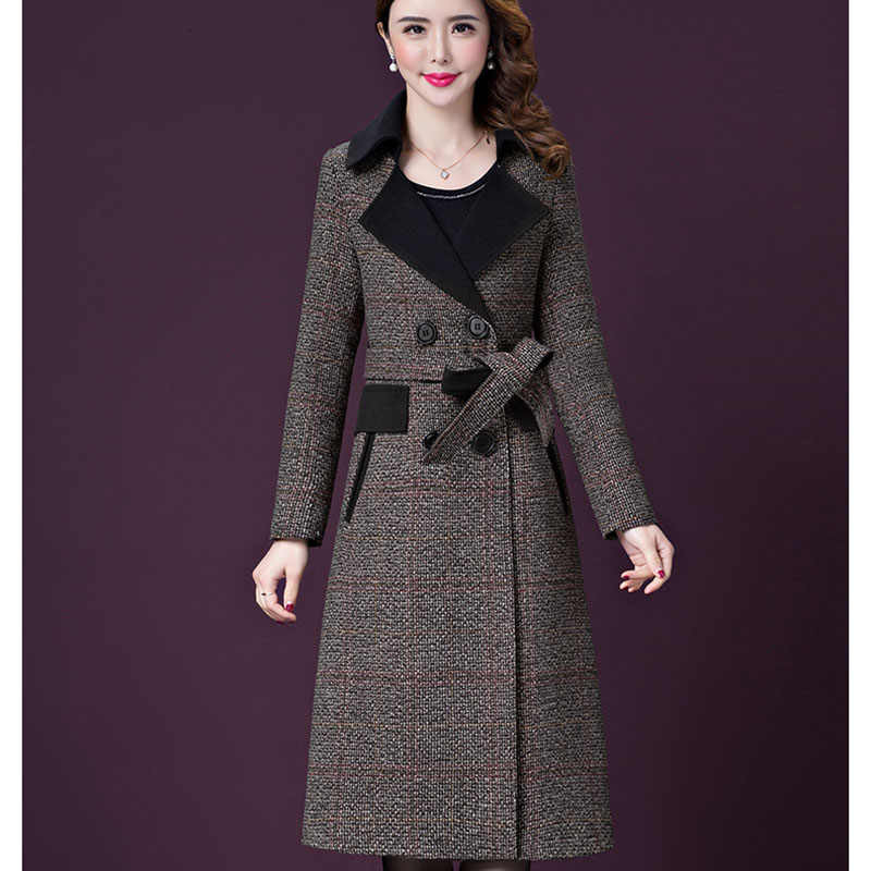 L-5XL New Women's Wool Coat Winter Autumn 2019 Plaid Jacket Lacing Belt Thicken Slim Woolen Blends Tops Outerwear Female 16-237