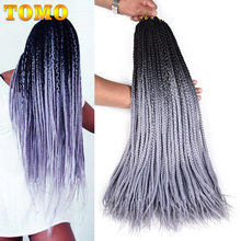 TOMO Ombre Crochet Hair Box Braids 24Inch Long Green Pink Braiding Hair 22Strands Synthetic Crochet Hair for African Braids(China)