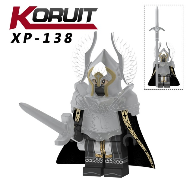 50pcs  XP138  Fountain Guard Action Figure Soldier of Gondor Knight Spear Sword Building Blocks Bricks Toys-in Blocks from Toys & Hobbies    1