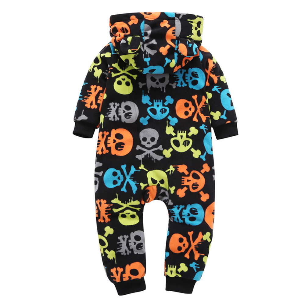Infant Baby Boy Girl Thicker Skull Hooded Romper Jumpsuit Outfit Home Clothes Oct 5