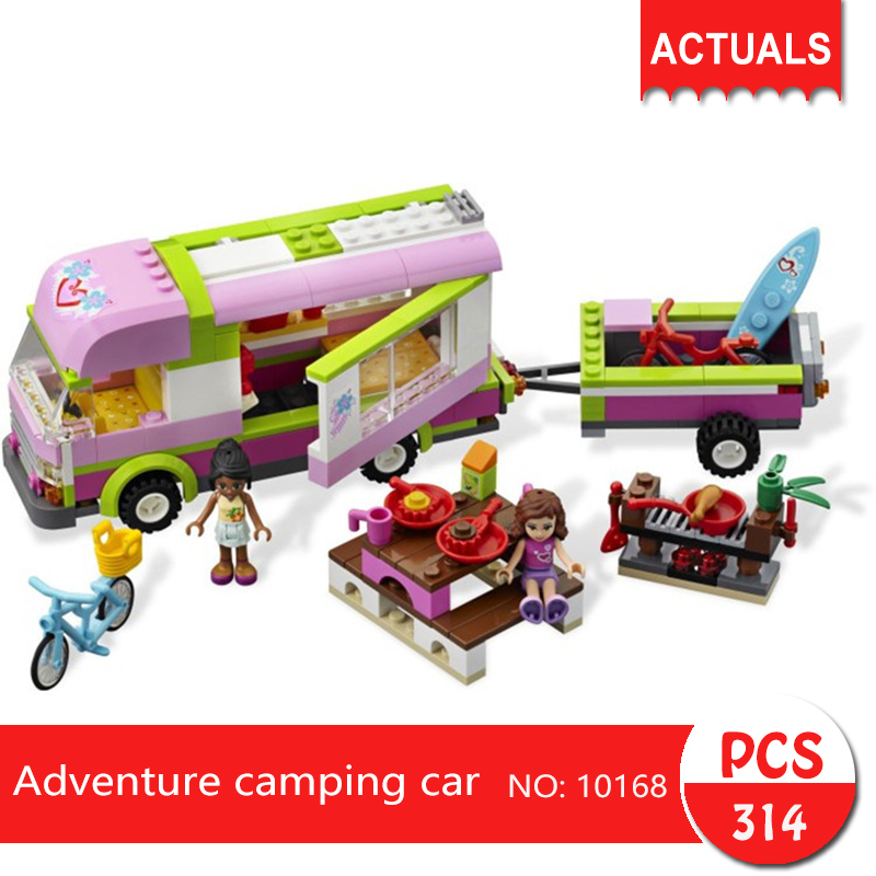 bela 10168 314Pcs Friends series Adventure camping car Building Blocks Bricks font b Toys b font