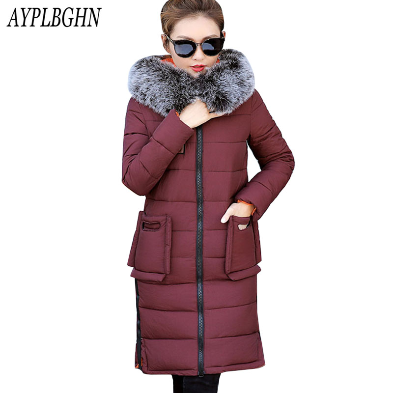 fashion New Fur Collar Winter Coat Women Letter Slim Thick Warm Cotton Parkas Medium-Long Hood casaco feminino inverno plus size 2017 new warm double thick collar down cotton women jacket self design female parkas winter coat casaco feminino a126 170815