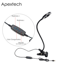 Apextech LED Clamp Desk Lamp DC5V USB 5W Dimmable 3Colors Adjustable Bedside Reading Children Study Table Lights Free Flexible