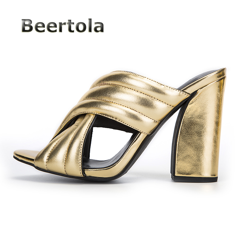 D'été Beertola Femmes Chaussures Cuir chaussures Sandales Femme Chunky Hauts Diapositives Véritable En Or Talons Femmes TrqFrPH