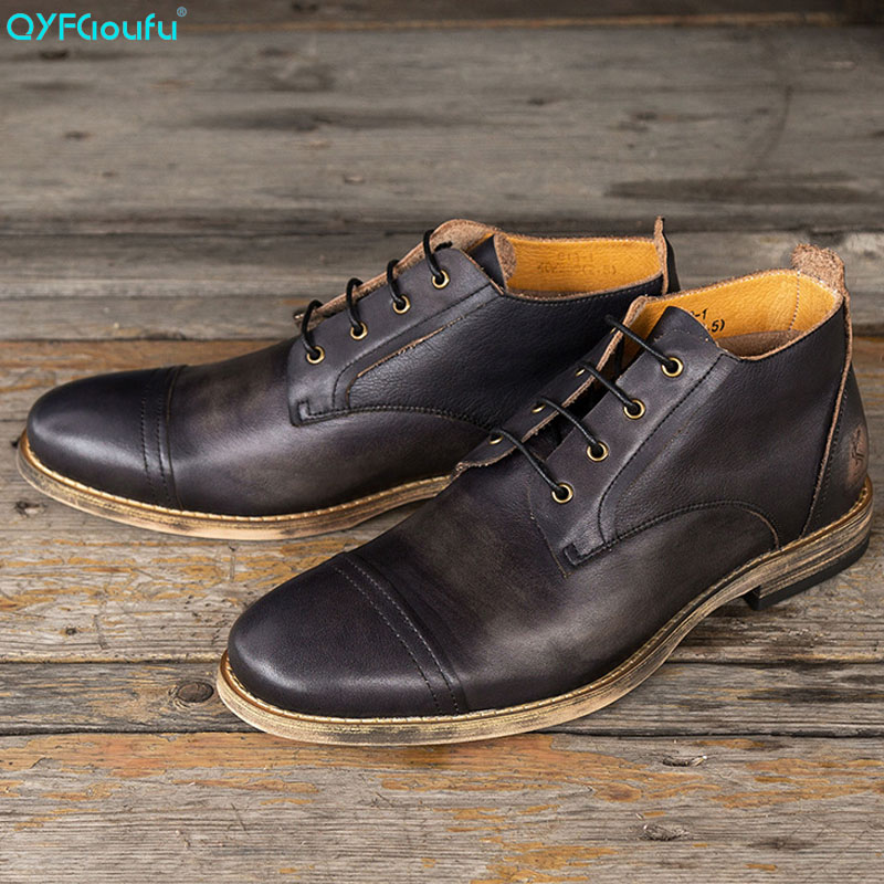 QYFCIOUFU Brand 2019 Spring Autumn Genuine Leather Ankle Chelsea Boots For Men Shoes Vintage Classic Male Casual Lace Up BootQYFCIOUFU Brand 2019 Spring Autumn Genuine Leather Ankle Chelsea Boots For Men Shoes Vintage Classic Male Casual Lace Up Boot