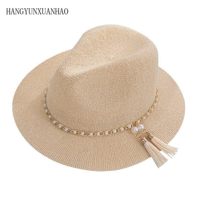 5 Color Summer Women Men Straw Sun Hat With Wide Brim Panama Hat For Beach Fedora Jazz Hat Size 56-58CM