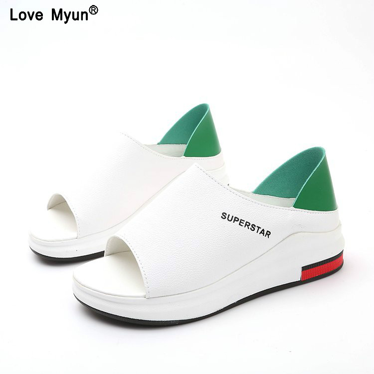 3836d1ae9 Summer women sandals wedges sandals ladies open toe round toe zipper black silver  white platform sandals shoes 83