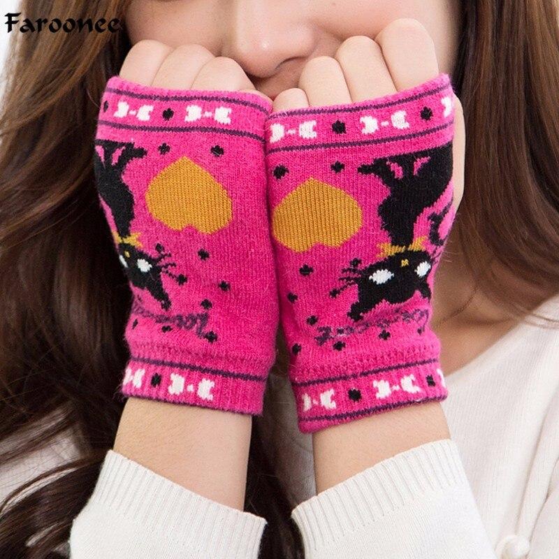 Apparel Accessories 2018 Warm Gloves Women Lady Lovely Cartoon Cat Heart Print Fingerless Wrist Hand Gloves Mittens Xmas Gifts Female Gants S4367