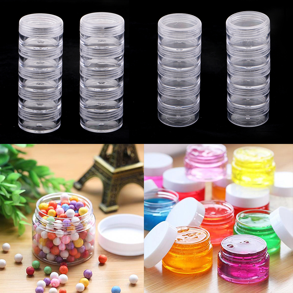 10 Stackable Clear Screw Top Jar Storage Containers Craft Jewelry Bead Boxes