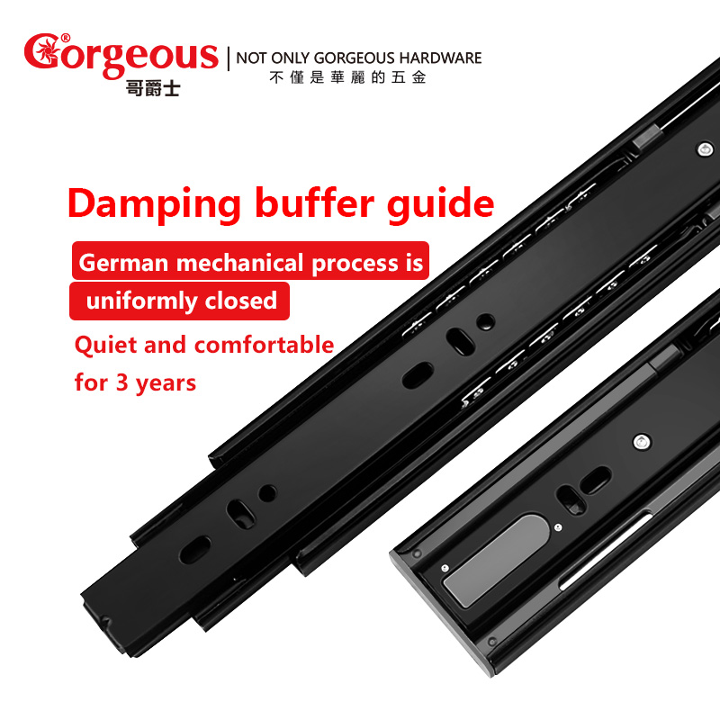 цена на Gorgeous cold rolled steel rail damper silent buffer damping thick furniture rail three-track drawer slide hardware accessories
