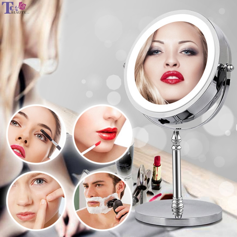 10X Magnifying Makeup Mirror With LED Light 360 Degree Rotating Round Shape Desktop Vanity Mirror Double