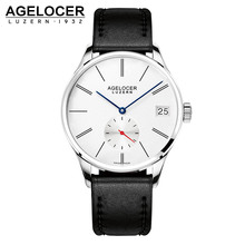 2016 Swiss Agelocer Original Men's Watch Luxury Famous Brand Men's Mechanical Watches Hour Date Clock Male Leather Dress Watches