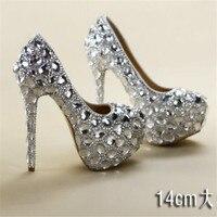 8 11 14CM crystal rhinestone women wedding shoes white bridal shoes big size 41 married high heel shoes platform female diamond