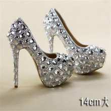 купить 8-11-14CM crystal rhinestone women wedding shoes white bridal shoes big size 41 married high-heel shoes platform female diamond дешево