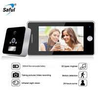Saful 4.3 pouces écran LCD numérique porte judas visionneuse appel vidéo avec carte TF alliage de Zinc matériel électronique porte cloche caméra