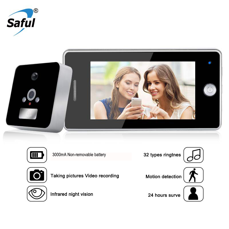 все цены на Saful 4.3 Inch LCD Screen Digital Door Peephole Viewer Video Call with TF Card Zinc Alloy Material Electronic Door Bell Camera